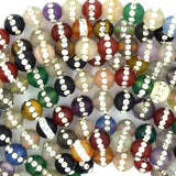 6mm multi stones round beads with rhinestone inlaid 15.5