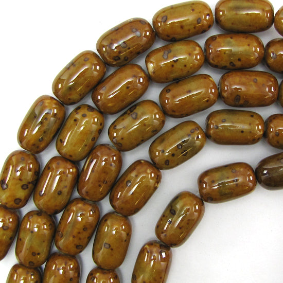 "13x22mm brown ceramic porcelain cylinder beads 16"" strand"