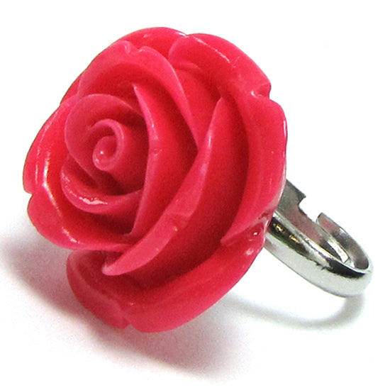 26mm rose synthetic coral carved rose flower adjustable ring size 5-7