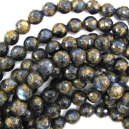 "8mm faceted sapphire blue golden pressed jade round 7.5"" strand 25 pcs"