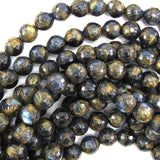 8mm faceted sapphire blue golden pressed jade round 7.5