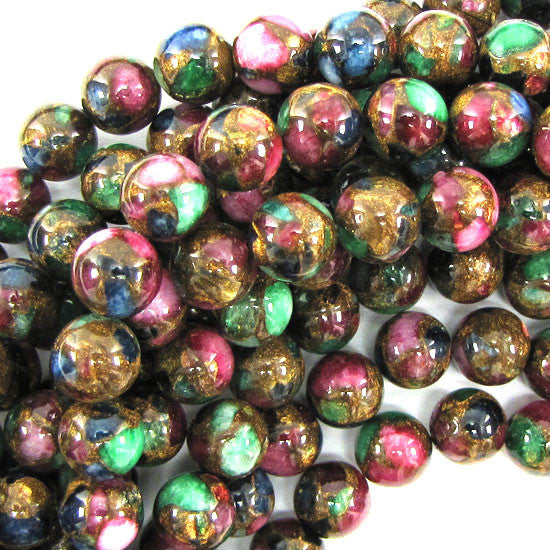 "10mm ruby zoisite golden pressed jade round 7.5"" strand"