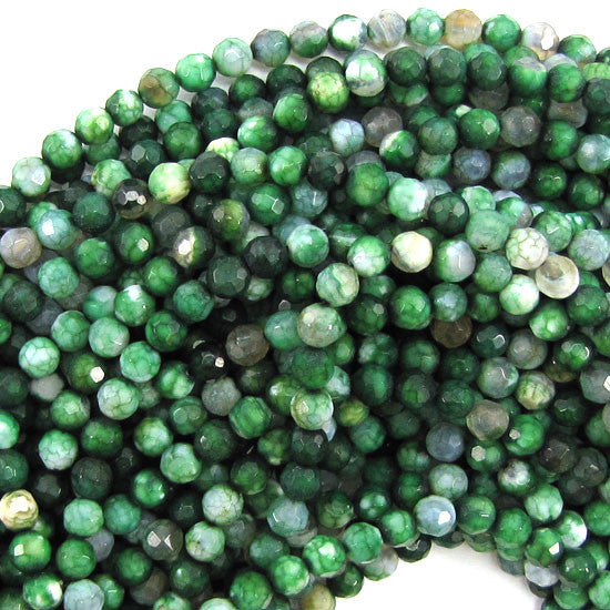 "4mm faceted agate round beads 15"" strand green"