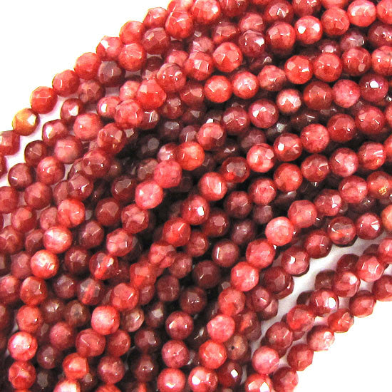 "4mm faceted agate round beads 15"" strand orange pink"