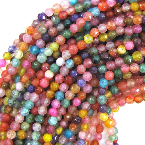 "4mm faceted jade round beads 15"" strand multicolor S2"
