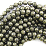 8mm natural pyrite round beads 15.5