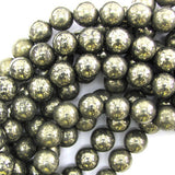 12mm natural pyrite round beads 15.5