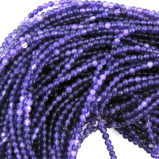 "2mm jade round beads 15"" strand seed light purple"