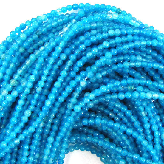 "2mm jade round beads 15"" strand seed sky blue"