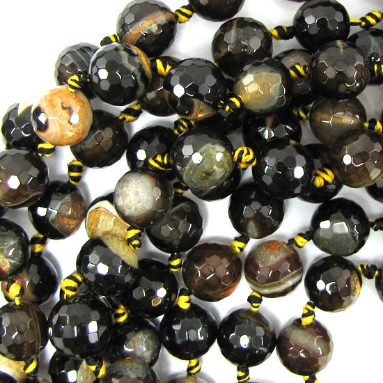 "12mm faceted black orange druzy agate round 6.5"" strand 12 pcs"
