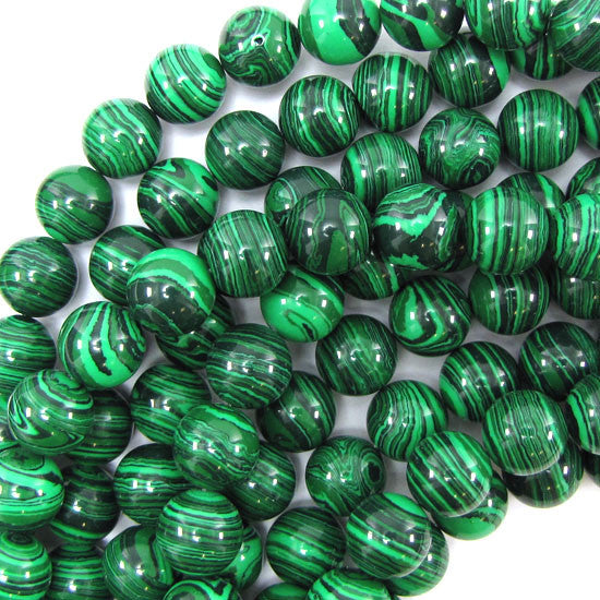 "10mm synthetic green malachite round beads 15.5"" strand"
