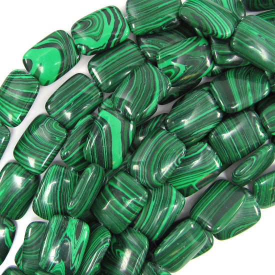 "13x18mm synthetic green malachite rectangle beads 16"" strand"