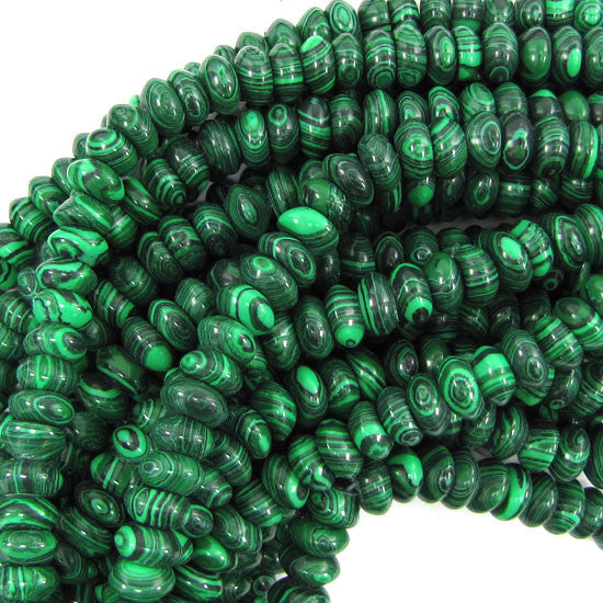 "8mm synthetic green malachite rondelle beads 15.5"" strand S1"