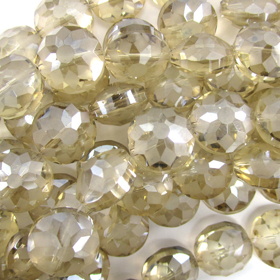 "14mm faceted frost crystal coin beads 8"" strand smoke"