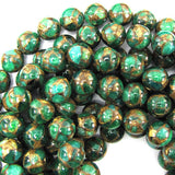 12mm emerald green golden pressed jade round 7.5