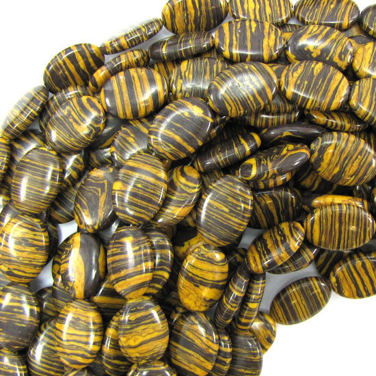 "13x18mm brown rainbow calsilica flat oval beads 15.5"" strand"
