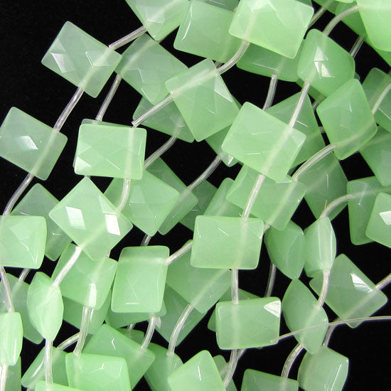 "12x16mm faceted green chalcedony quartz rectangle 15"" strand"