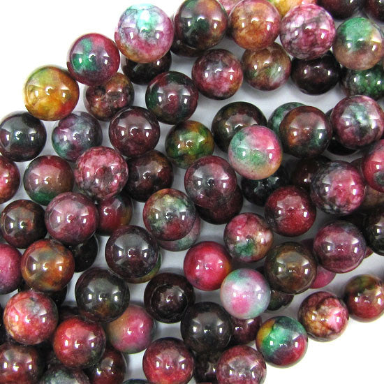"12mm multicolor jade round beads 7.5"" strand"