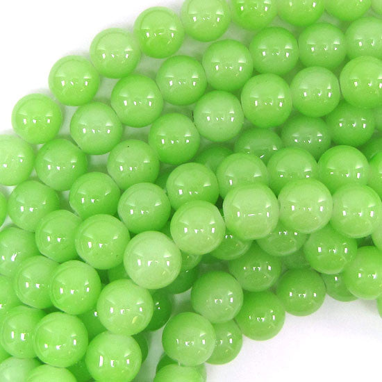 "10mm glass round beads 14.5"" strand light green"