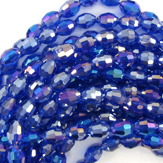 "8x10mm faceted rainbow crystal barrel beads 7.5"" strand dark blue 20 pcs"
