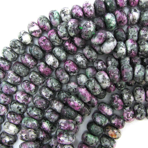 "6-14mm faceted ruby zoisite jade round beads 18"" strand"