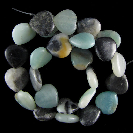 "16mm amazonite heart beads 16"" strand"