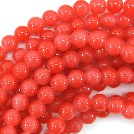 "10mm glass round beads 13.5"" strand red pink"