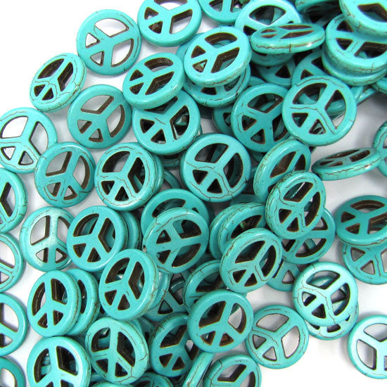 "20mm blue turquoise peace sign coin beads 16"" strand"