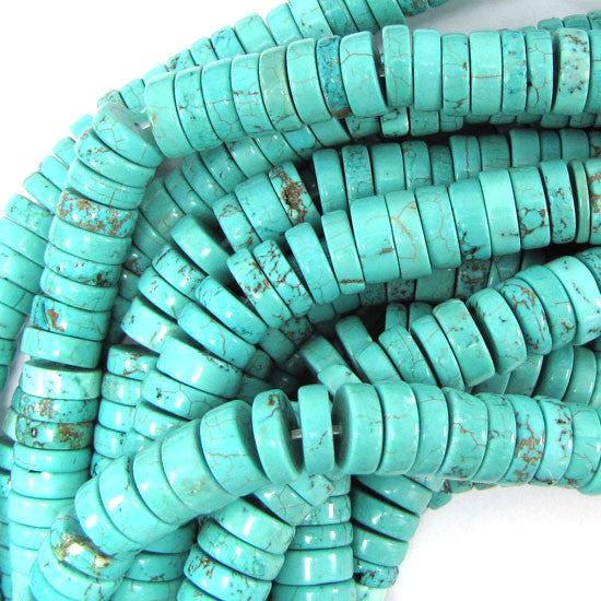 "10mm blue turquoise heishi beads 15.5"" strand S2"