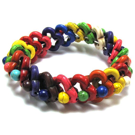 20mm multicolor turquoise stretch bracelet 8""