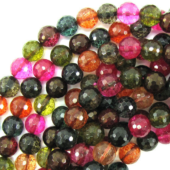 "10mm faceted watermelon tourmaline quartz round beads 15.5"" strand"