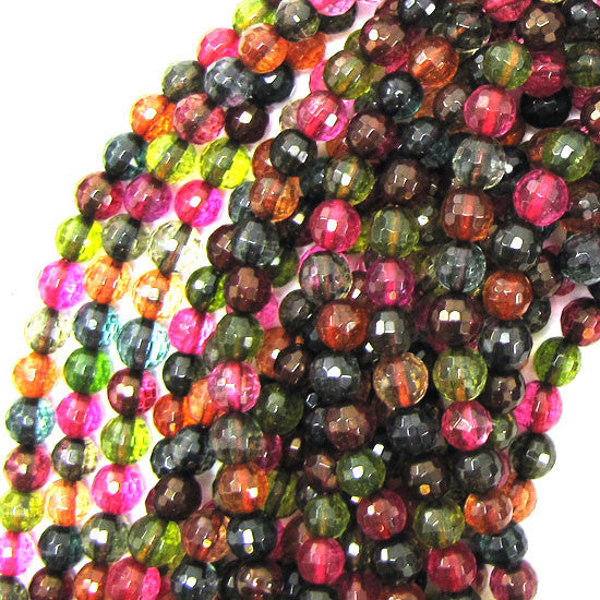 "6mm faceted watermelon tourmaline quartz round beads 15.5"" strand S1"