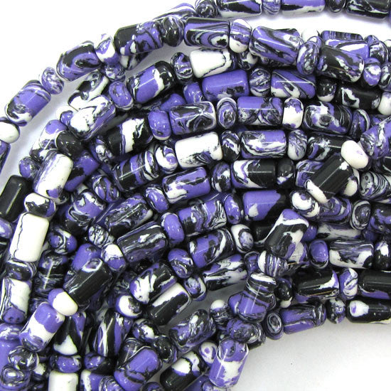 "6x9mm purple calsilica cylinder rondelle beads 16"" strand"