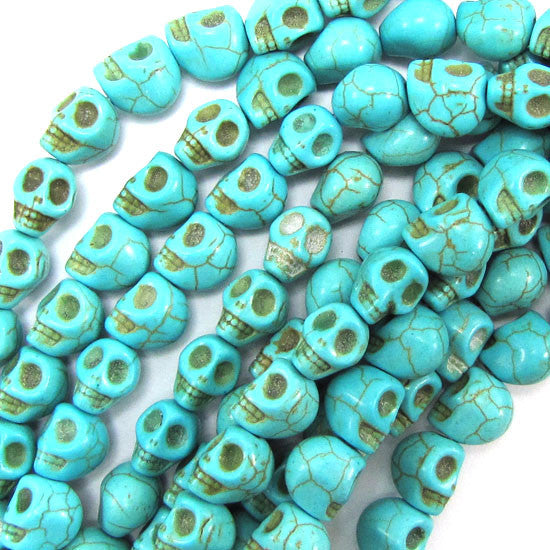 "8x10mm blue turquoise carved skull beads 15.5"" strand"