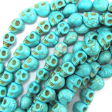 8x10mm blue turquoise carved skull beads 15.5