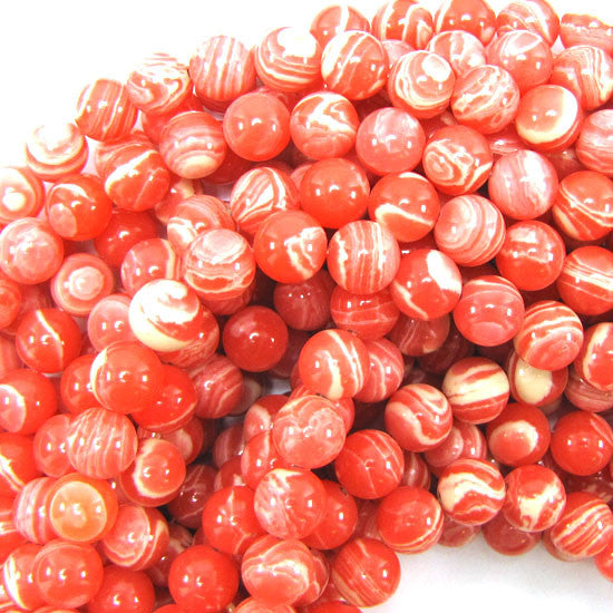 "10mm synthetic pink rhodochrosite round beads 15.5"" strand"