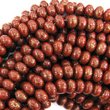 9mm red brown gold pyrite turquoise rondelle beads 8