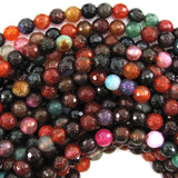 8mm faceted multicolor agate round beads 15.5