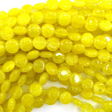 10mm yellow jade coin beads 15