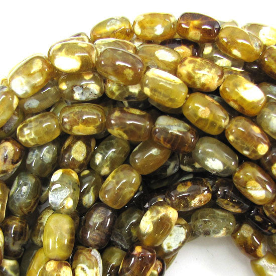 "12mm brown crab agate barrel beads 15.5"" strand"