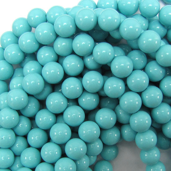 "10mm synthetic blue turquoise round beads 15.5"" strand"