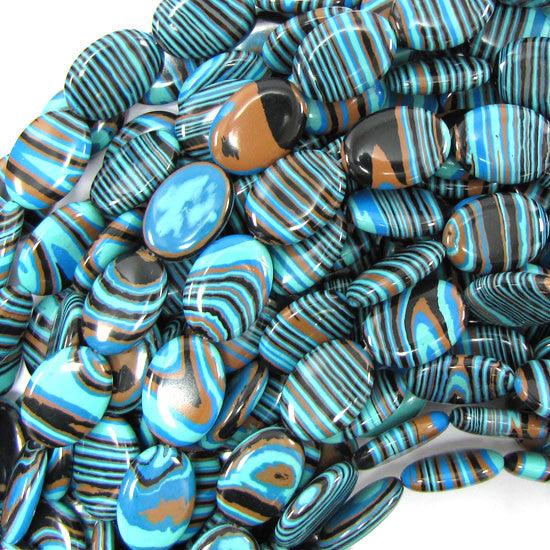 "18mm blue rainbow calsilica flat oval beads 15.5"" strand"