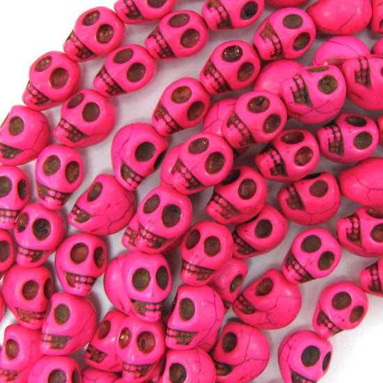 "10x13mm magenta turquoise carved skull beads 15.5"" strand"
