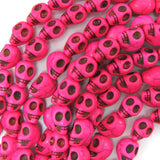 10x13mm magenta turquoise carved skull beads 15.5