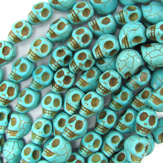 "10x13mm blue turquoise carved skull beads 15.5"" strand"