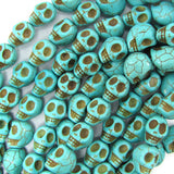10x13mm blue turquoise carved skull beads 15.5
