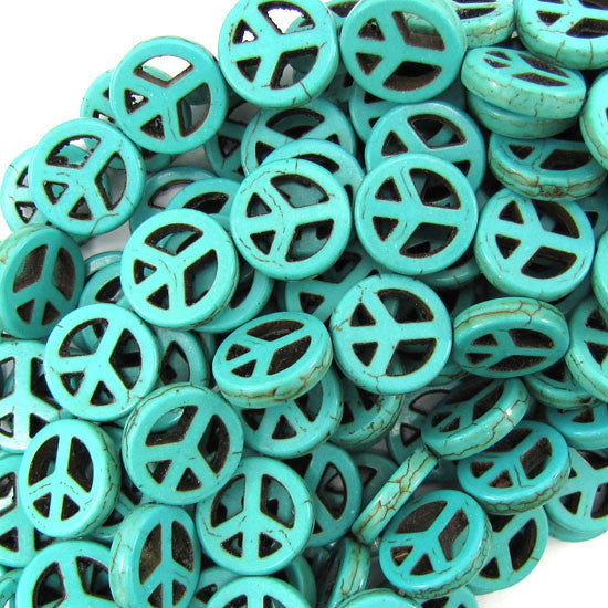 "15mm green turquoise peace sign coin beads 16"" strand"