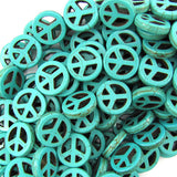 15mm green turquoise peace sign coin beads 16