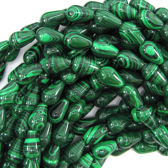 "12mm synthetic malachite teardrop beads 15.5"" strand"