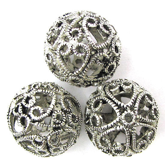 3 18mm silver plated brass round beads findings